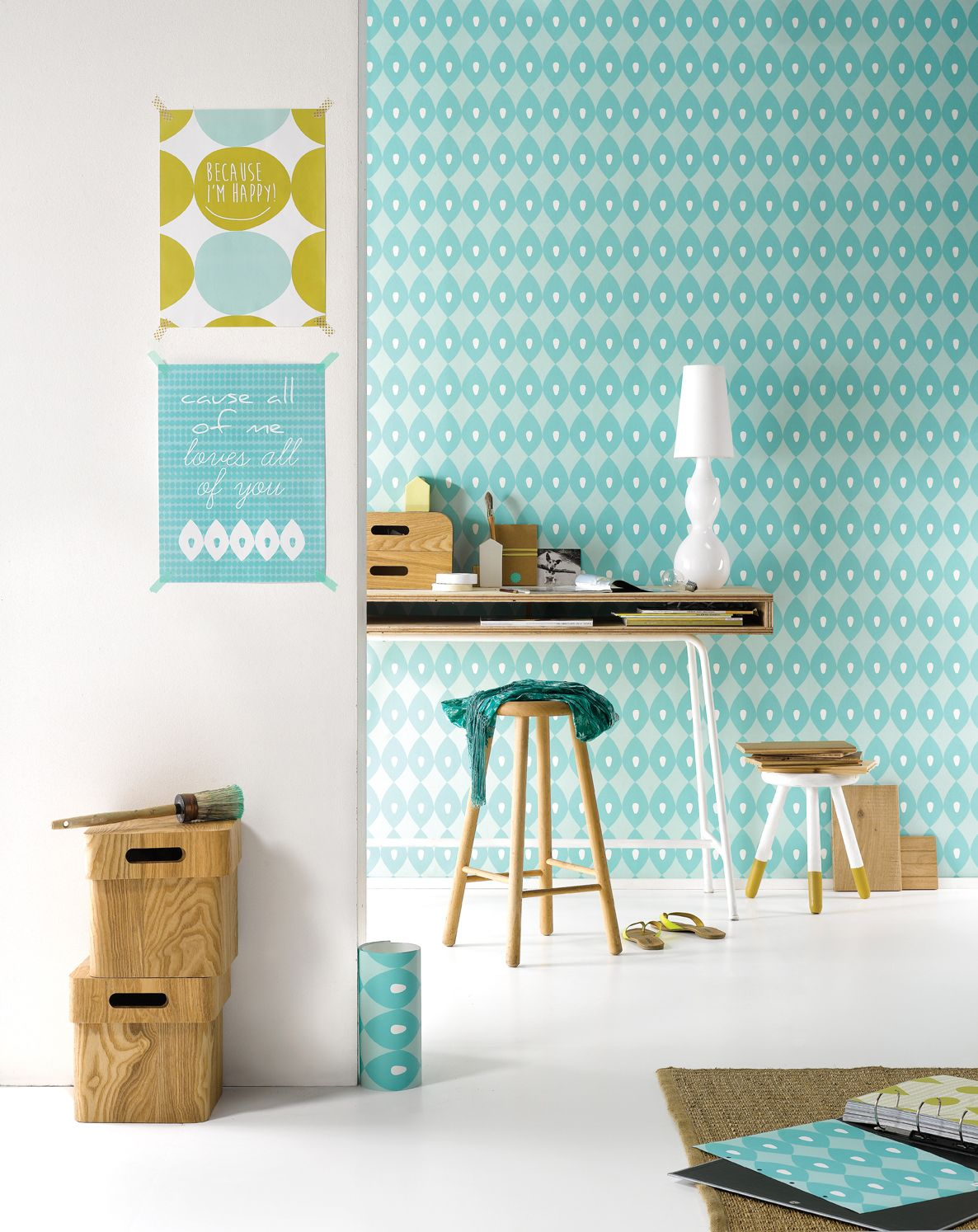 behang wall me 14 fresh yarn, muur we m85 soft skin uit de, Deco ideeën