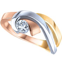 Ben Moss Jewellers 020 Carat 10k TriColour Gold Diamond Ring