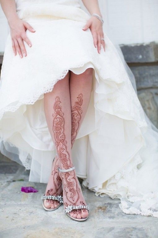 White Mehndi Outfits : Henna mehndi feet white lace wedding dress probably