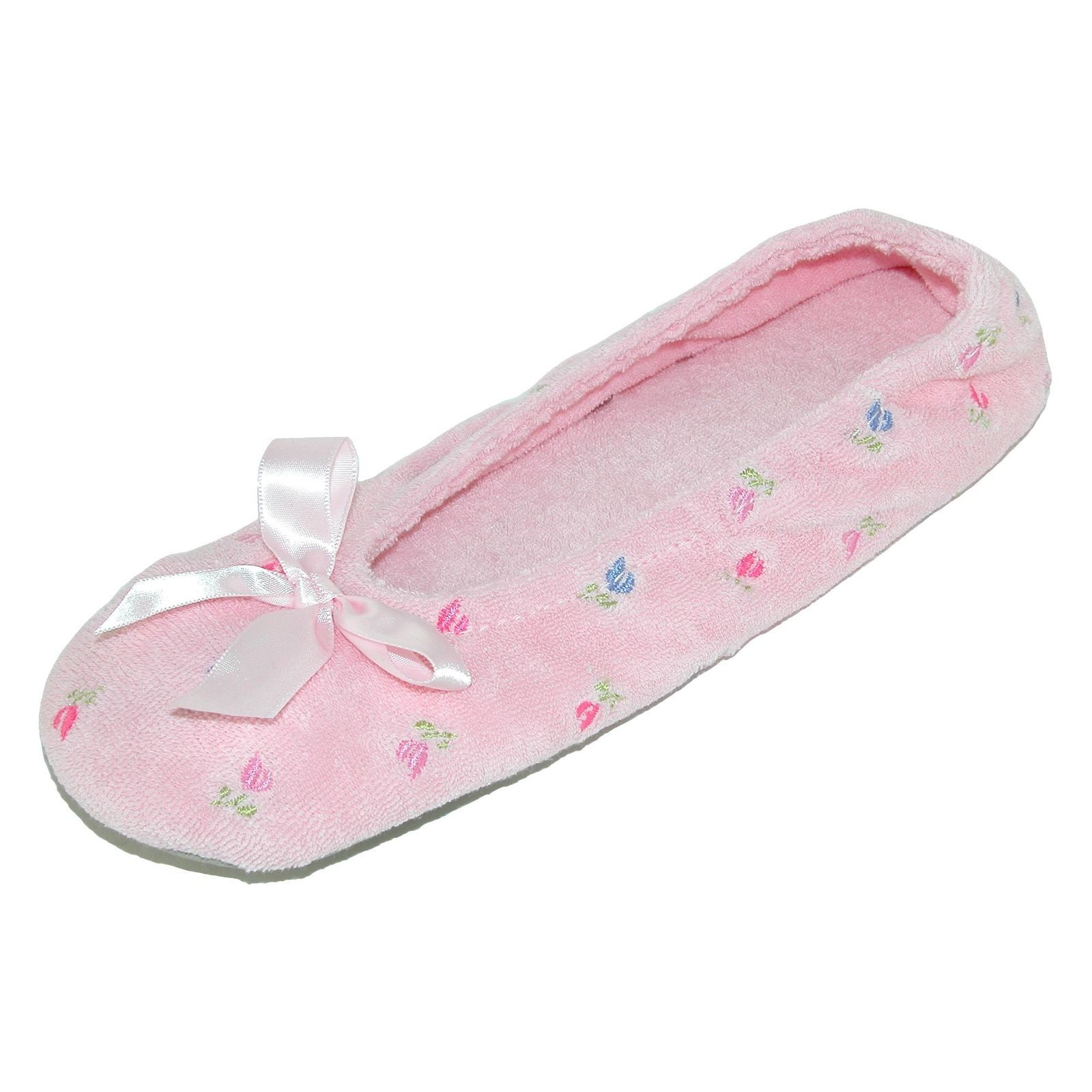 baa804dd45fd New Isotoner Women s Embroidered Terry Ballerina Slippers