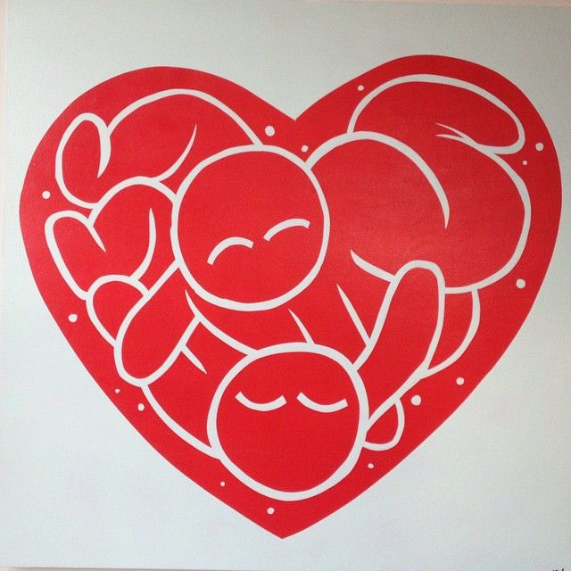 Van Holmgren: Cuddle party in a heart.  3x3ft on wood panel.