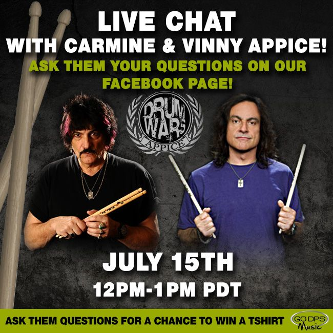 LIVE CHAT with Vinny and Carmine Appice on July 15th from 12pm-1pm PDT! They will both be answering fan questions! #Live #drummers #VinnyAppice #CarmineAppice #drumwars