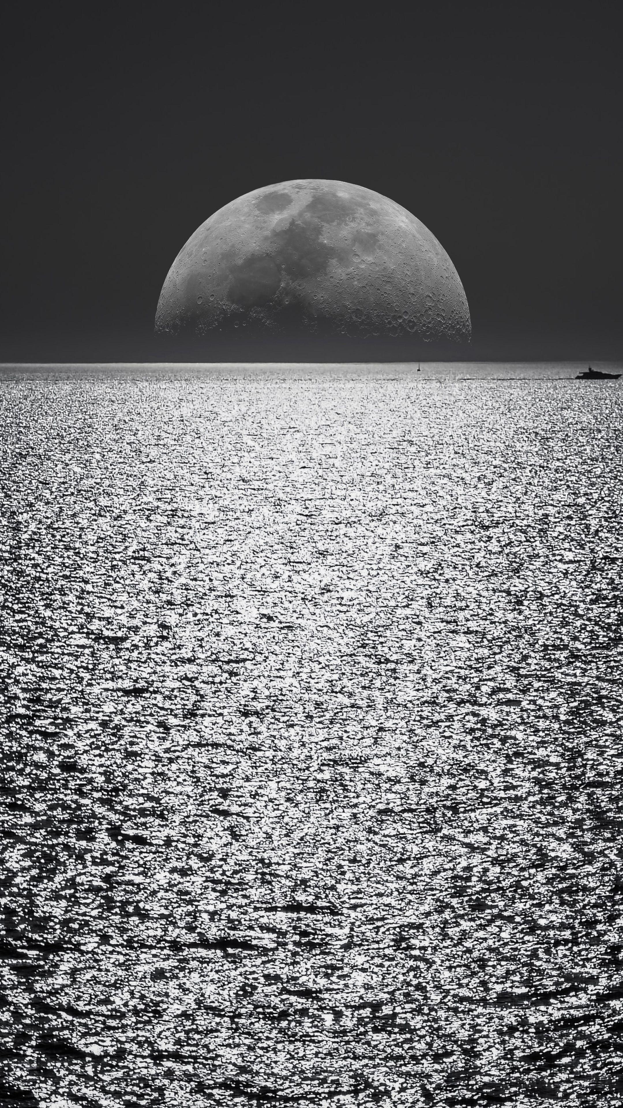 Nature White Black Moon Evening Night Time Seascape 5k Wallpapers Wallpaper Monochrome 1080p Wallpaper