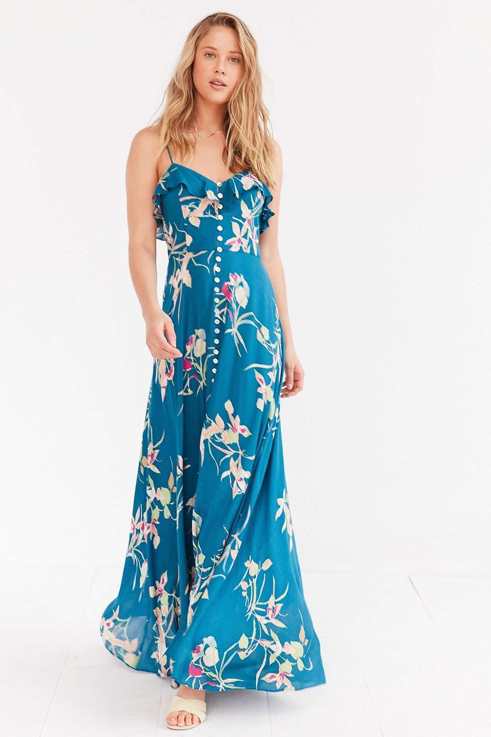 Kimchi Blue La Playa Button-Down Blue Maxi Dress | Kimchi, Blue ...
