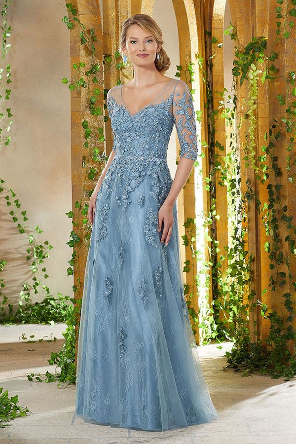 [135.99] Amazing Tulle V-neck Neckline A-line Mother Of The Bride Dresses With Lace Appliques & Handmade Flowers & Beadings