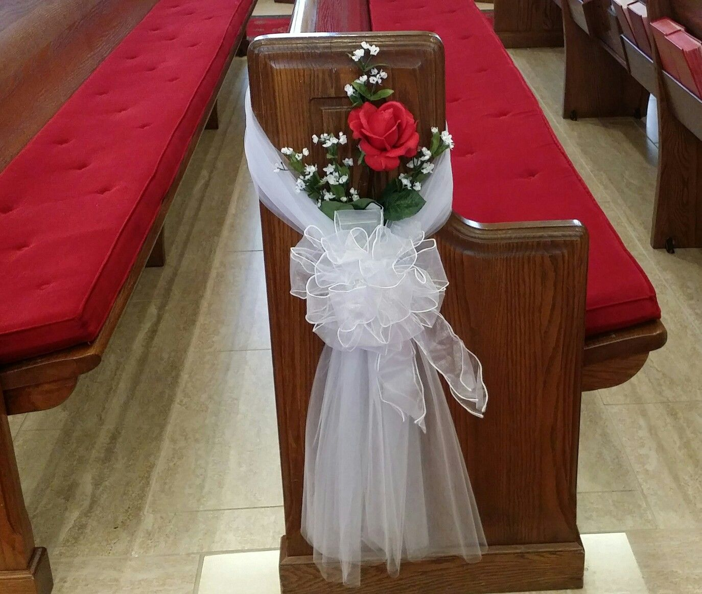 Simple Wedding Church Pew Decorations: Ashley's Wedding Pew Bows. This Was A Fun And Easy Diy. We