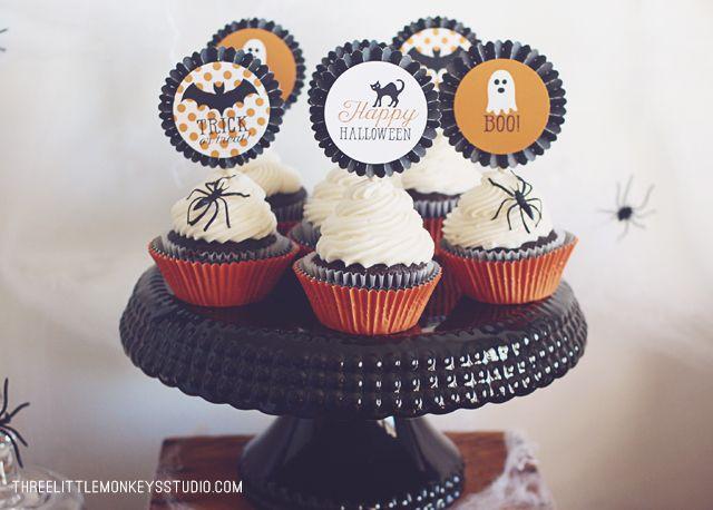 FREE Printable Cupcake Toppers by ThreeLittleMonkeysStudio - halloween decoration printables