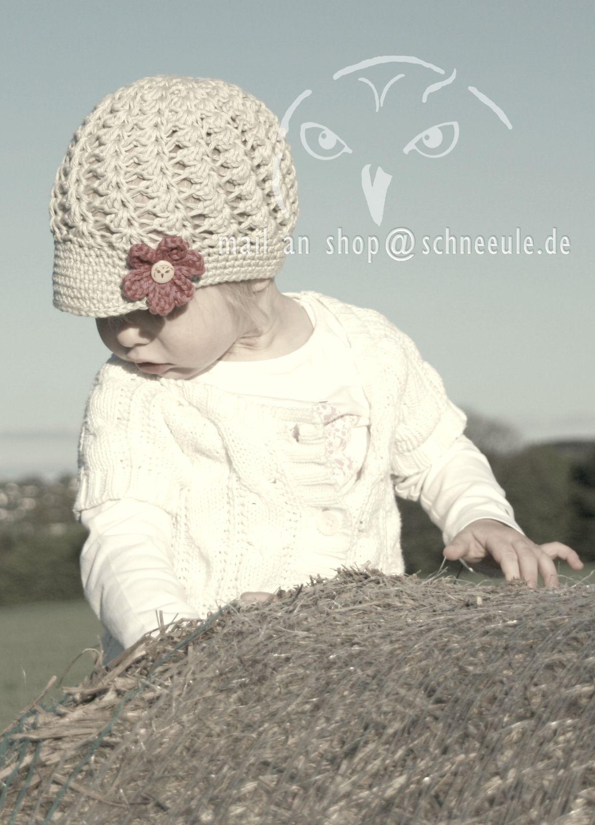 Mütze Mit Blume Gehäkelt Mädchen Crochet Hat Flower Kinder
