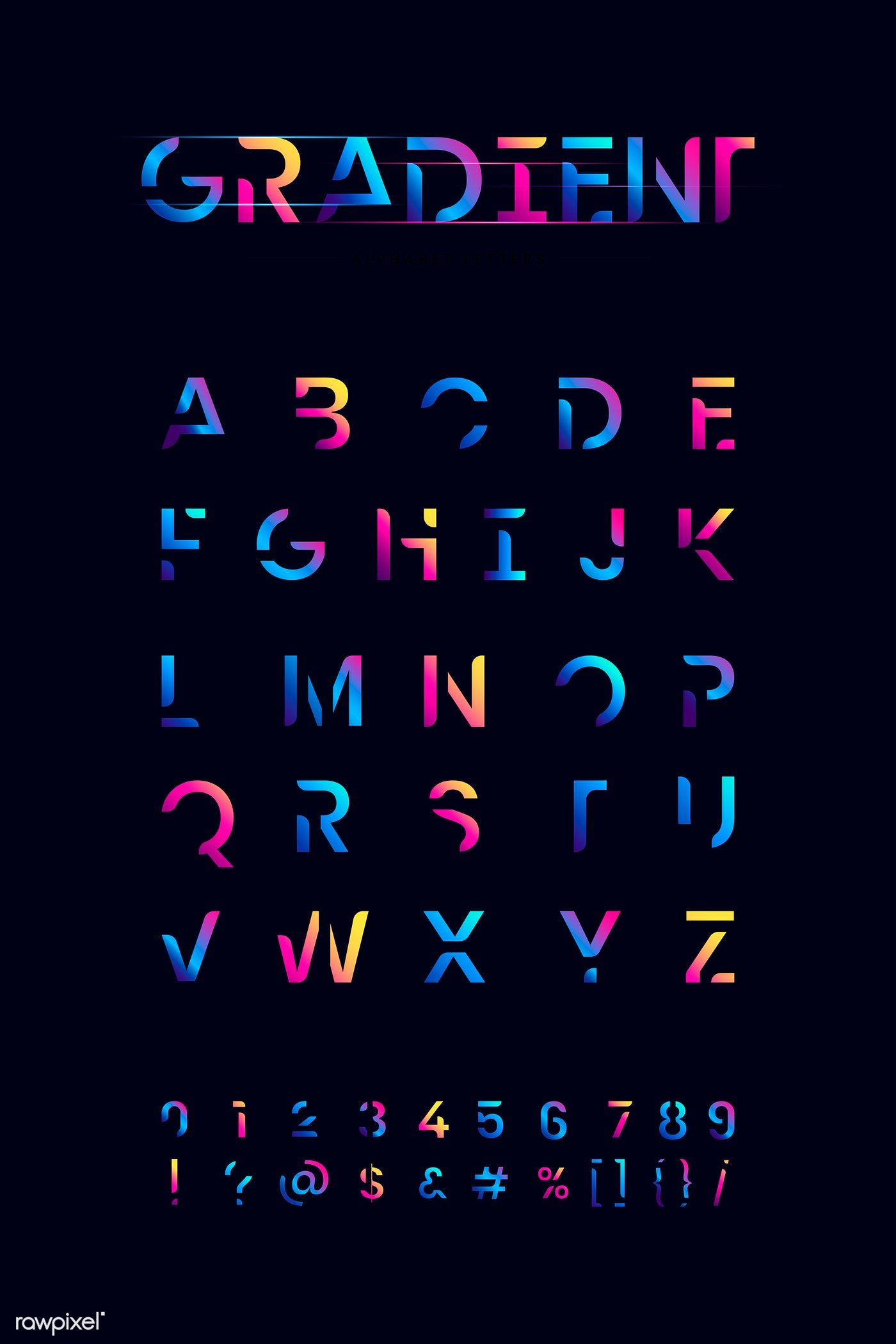Download premium vector of The English alphabet vibrant