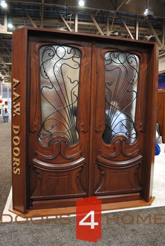 AAW Doors Inc. AN-2014-2 Double Entry Doors Solid Mahogany with Forged & AAW Doors Inc. AN-2014-2 Double Entry Doors Solid Mahogany with ...