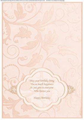 Birthday Insert Peach For Landscape Cards On Craftsuprint Designed