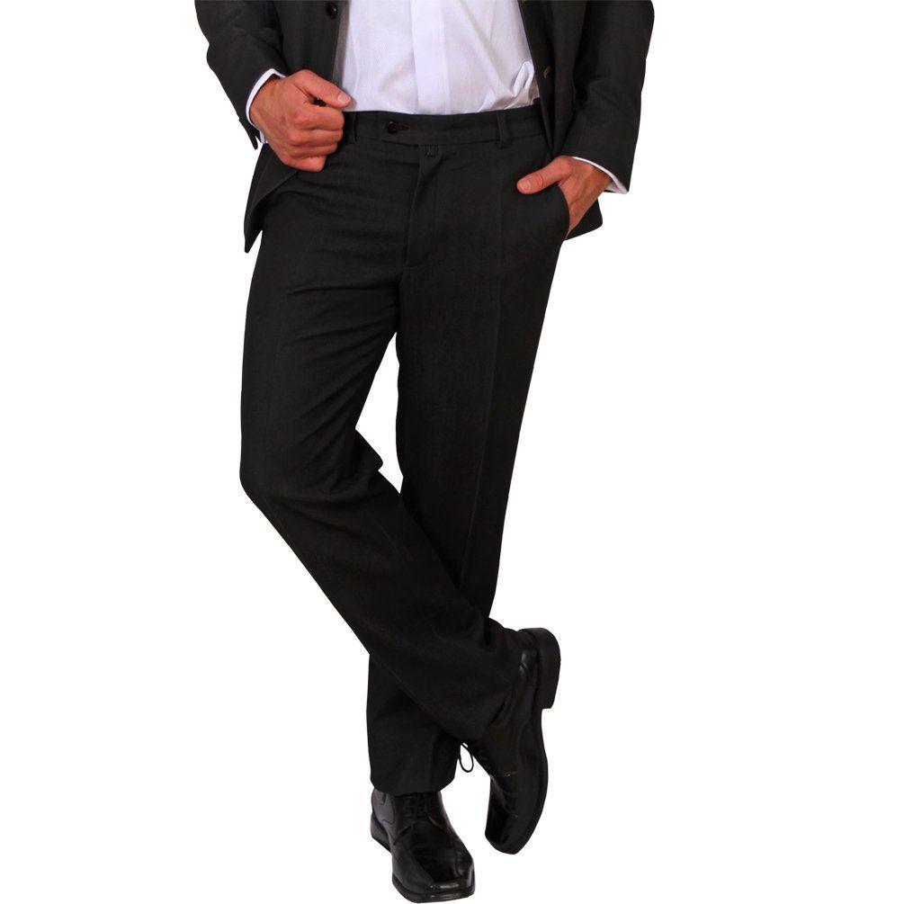 Herren Büro Hose Klassisch Schwarz Anzughose Bundfaltenhose Business Chinohosen