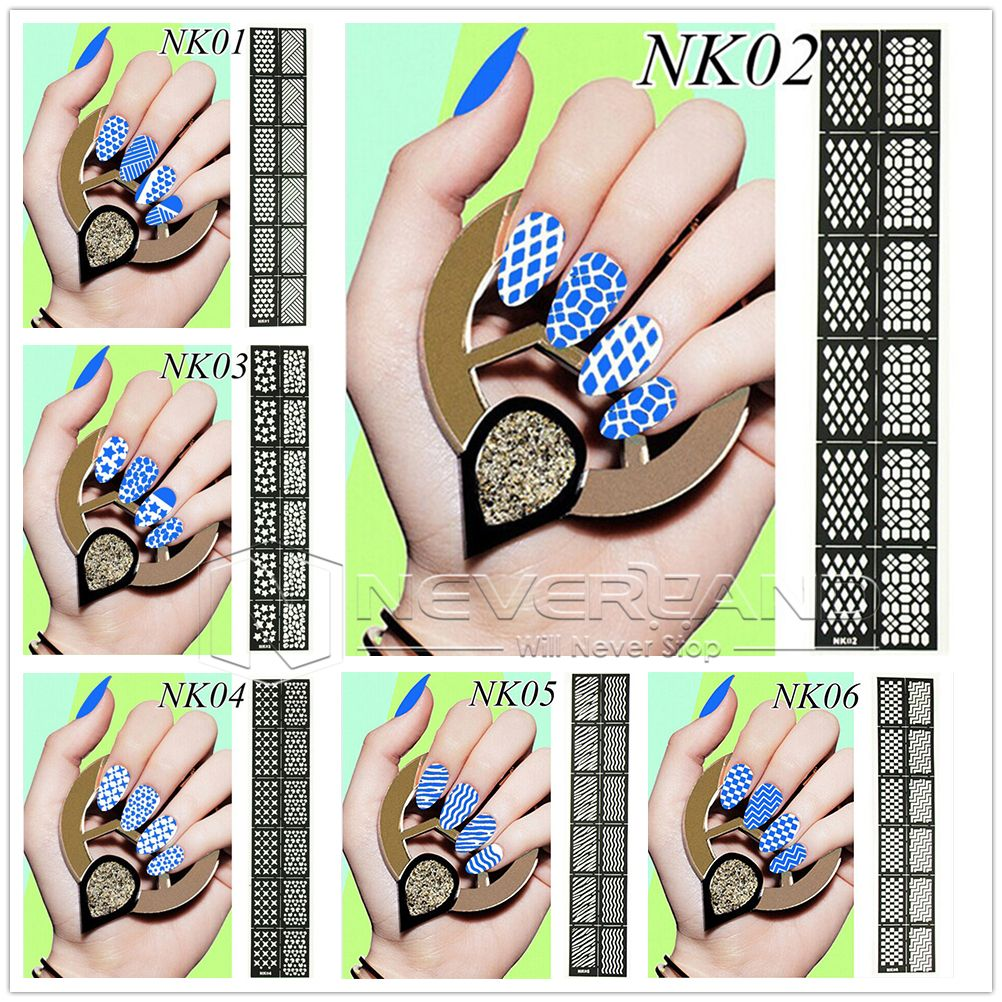 Easy Use Stamping Nail Art Template Stickers Stamp Stencil Guide ...