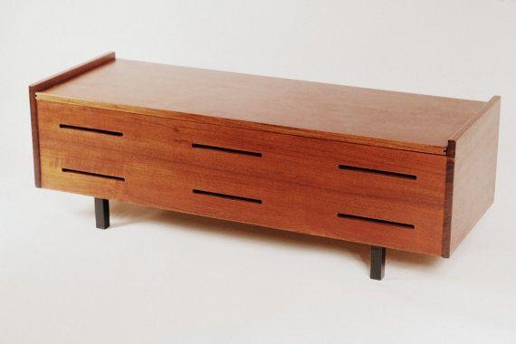 Great Mid Century Danish Modern Teak Storage Bench Chest Mid Century Storage  Chest Bench