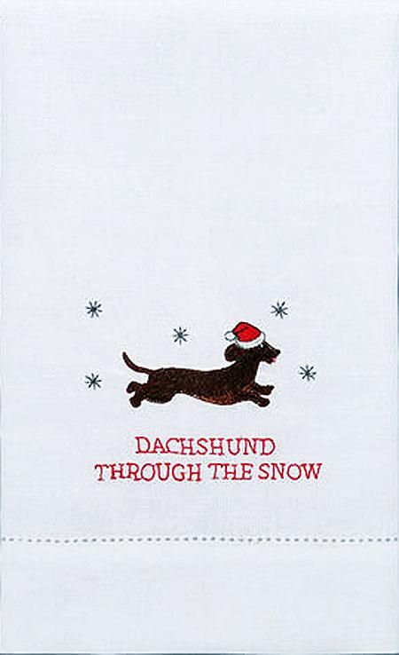 Dog Dachshund Through The Snow Holiday Guest Kitchen Dish Towel