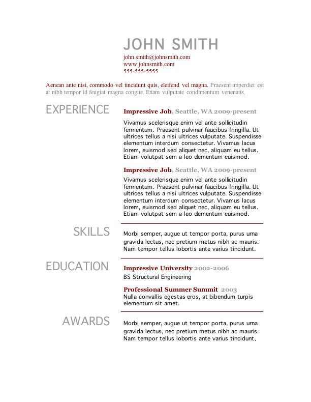 7 free resume templates - One Page Resume Example