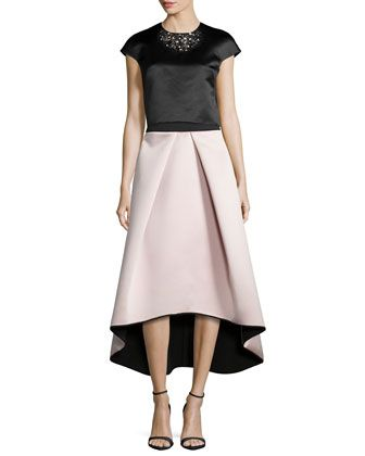 f1cbb65eda02e0 Short-Sleeve Beaded Crop Top & High-Low Satin Ball Skirt by Milly at Neiman  Marcus.
