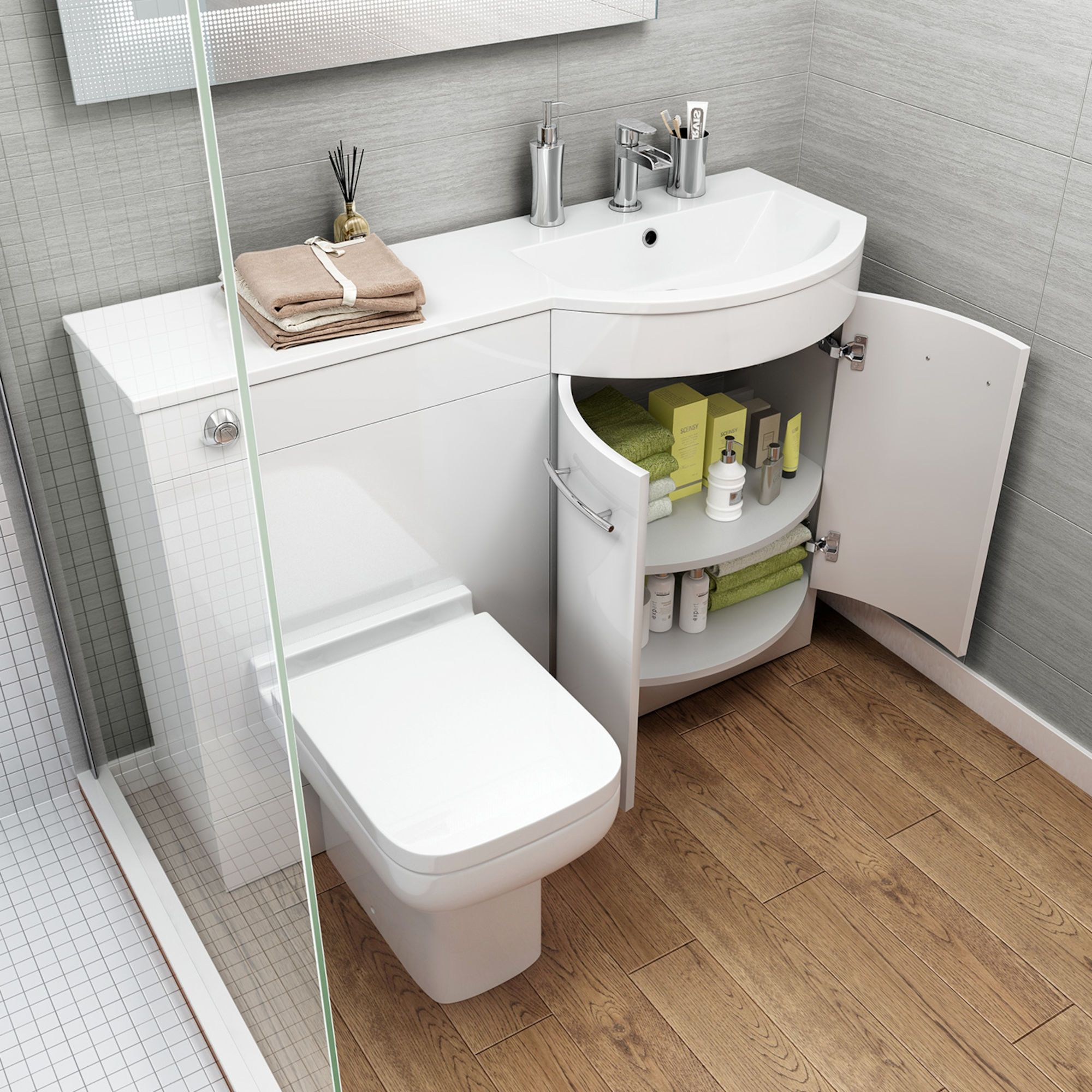 1200m Alexis White Gloss Right Hand Vanity Unit Short Projection