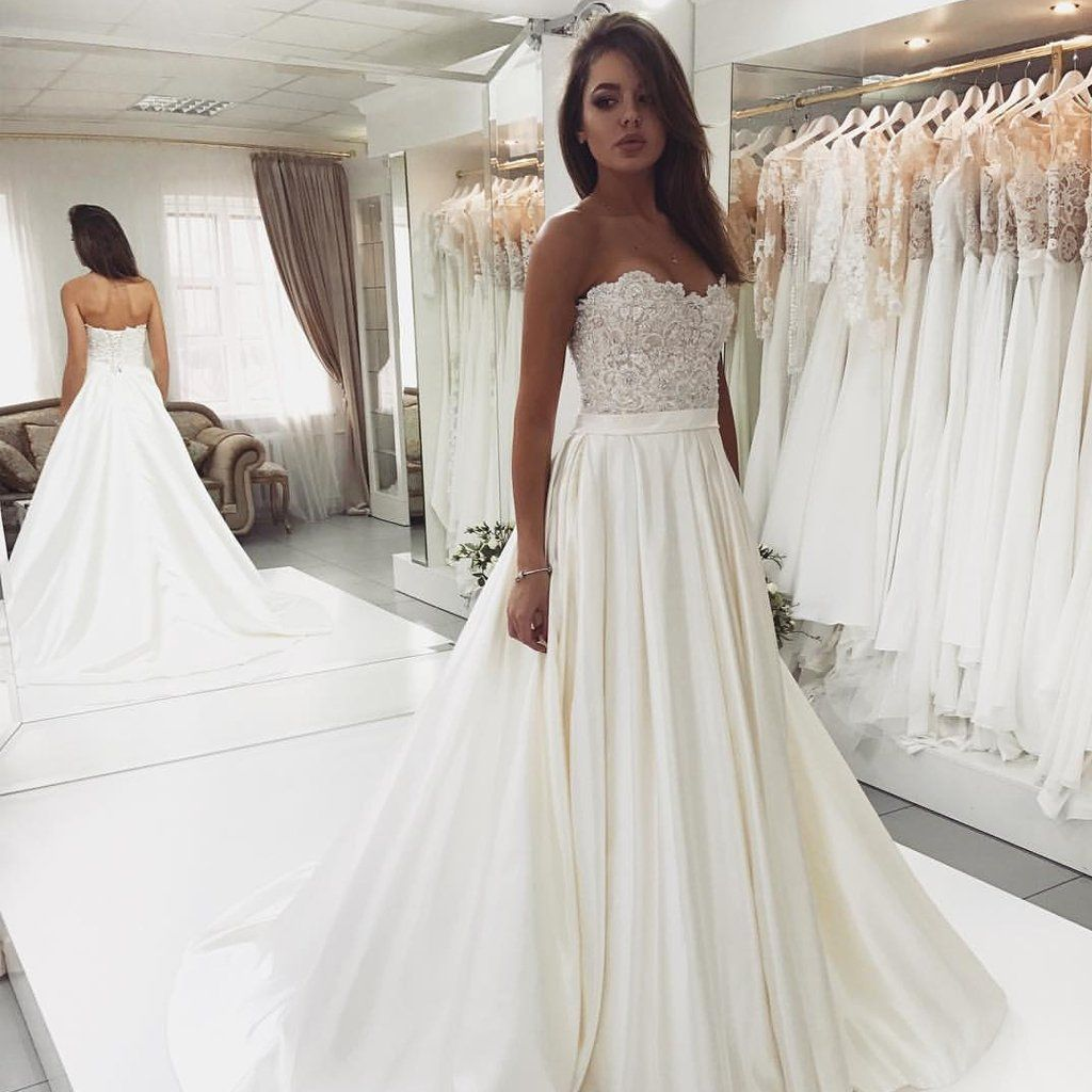 Sweet Heart Satin Beaded Wedding Dress, A-Line Backless