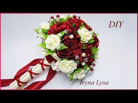 свадебный букет дублер с розами по мк Avonessa Fabric Flowers