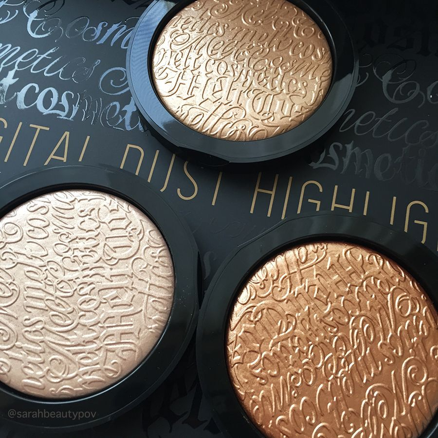 Melt Cosmetics Digital Dust Highlighters Stargazer, Gold Ore and Nova review and swatches #meltcosmetics #beauty #makeup #highlighter #trend
