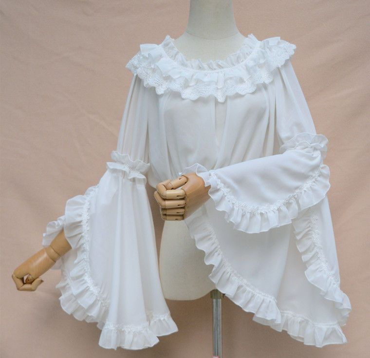 5a1b5f6014085a Sweet Princess Big Hime Sleeve Women's Lolita Chiffon Blouse Beige White  Black