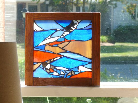 Stained Glass Blue Panel Blue Glass Mosaic Hanging by irmaKdesigns
