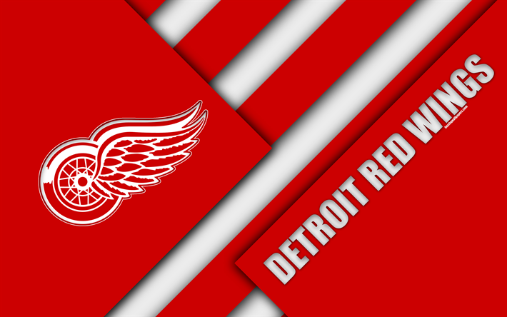 American Sports Material Wallpapers: Download Wallpapers Detroit Red Wings, 4k, Material Design