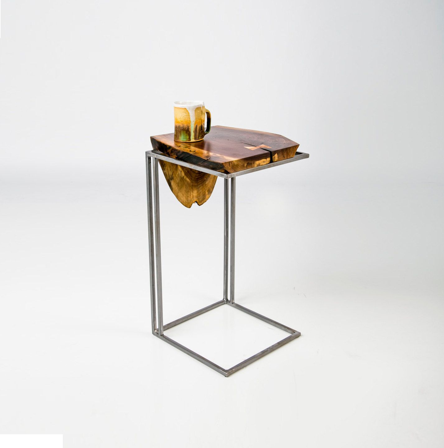 C Table   Solid Black Walnut Top With Metal Base By AntonMakaDesigns :: Best  Rated