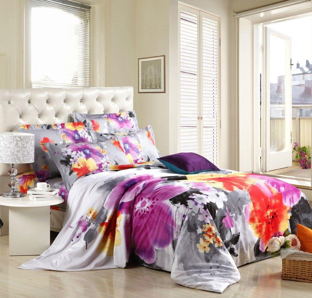 New Hot Beautiful 4pc 100 Cotton Comforter Duvet Dooona Cover Sets Full Queen King Size Bedding Set King Size Bedding Sets Duvet Comforters King Size Bed