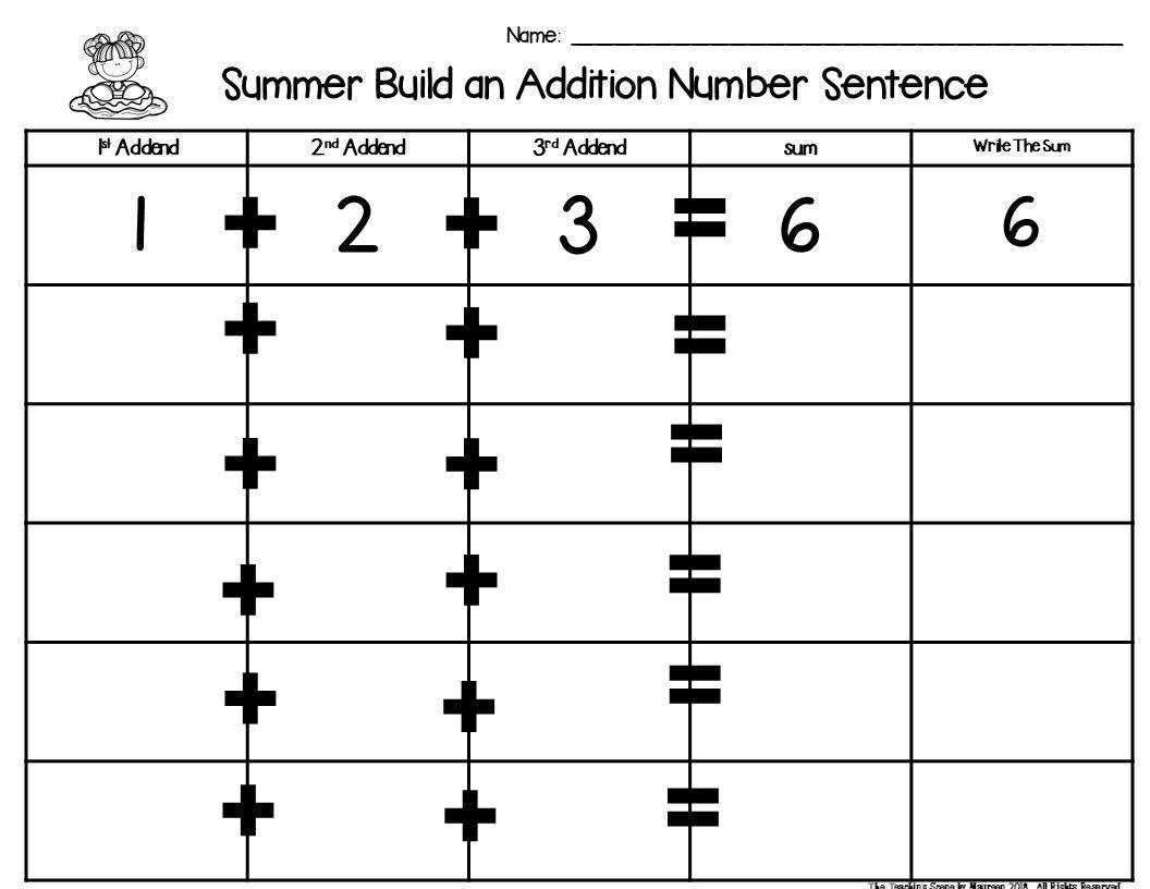 Summer Build 3 Addend Addition Amp Subtraction Number