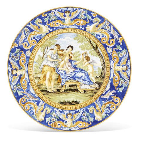 An Italian majolica charger mid-19th century