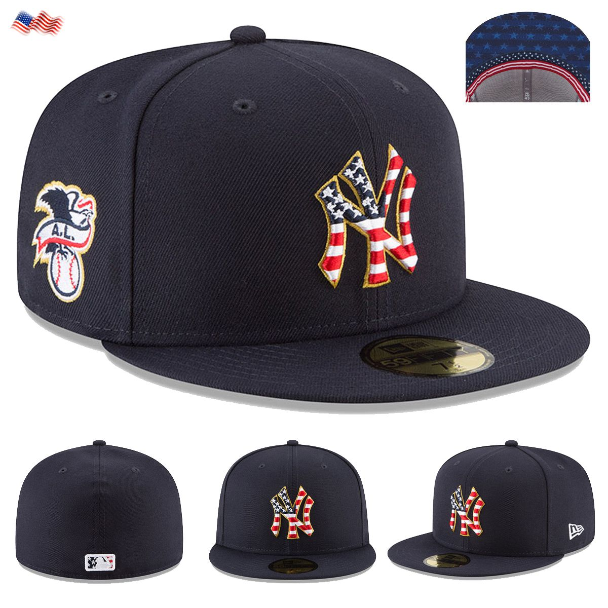 e2a3453b3b3c6 Celebrate the 4th of July 2018 holiday in style when you grab this Stars    Stripes New York Yankees On-Field 59FIFTY Fitted Hat from New Era.