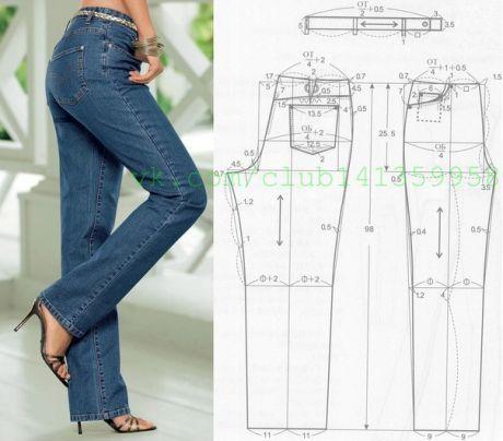 Los Vaqueros Clasicos Femeninos Directos Con Una Alta Plantacion El Patron Jeans Pattern Sewing Diy Clothes Jeans Pants Pattern
