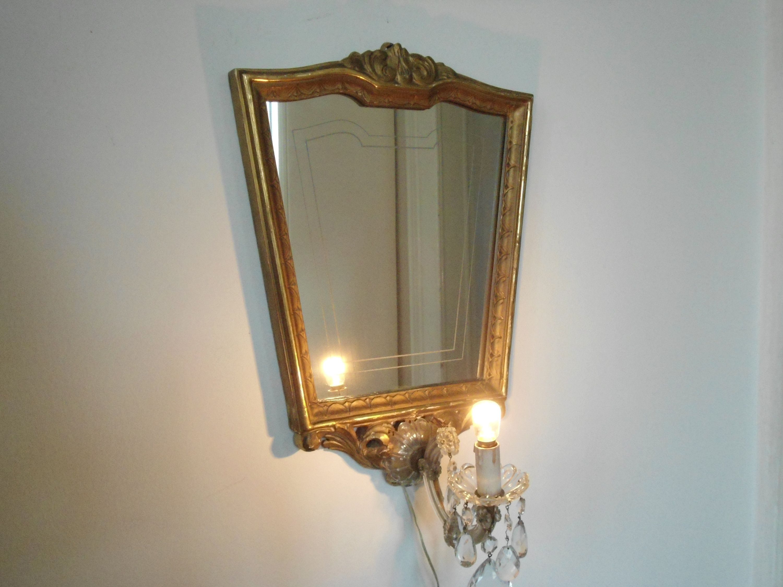 Specchio art decò lampada da muro applique maria teresa