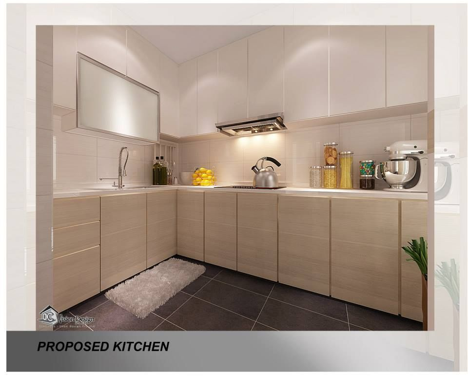 Wooden cupboard with white top upper white cabinets and greyish black florring exactly what i Best hdb kitchen design