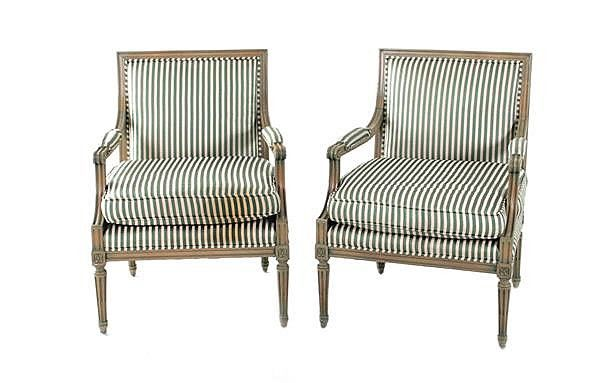 Pair Of Louis Xvi Style Paint Decorated Wing Back Chairs Furniture Antiques