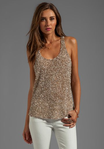 Parker Leah Sequin Tank in Nude   REVOLVE   Fashion in