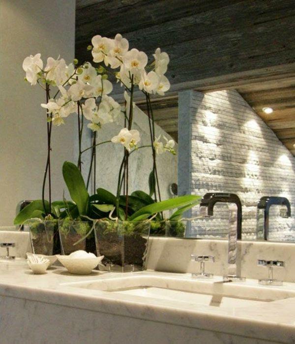Orchideen unterstreichen die Schönheit der Dekoration im - deko für badezimmer