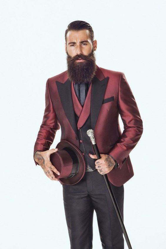 Latest Coat Pant Designs Burgundy Satin Men Suit Slim Fit 3 Piece ...