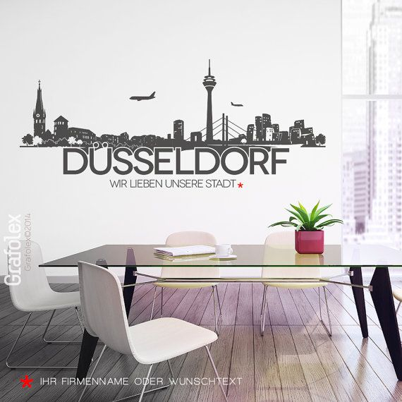 wandtattoo skyline d sseldorf wandaufkleber von grafolex auf etsy aaa pinterest. Black Bedroom Furniture Sets. Home Design Ideas
