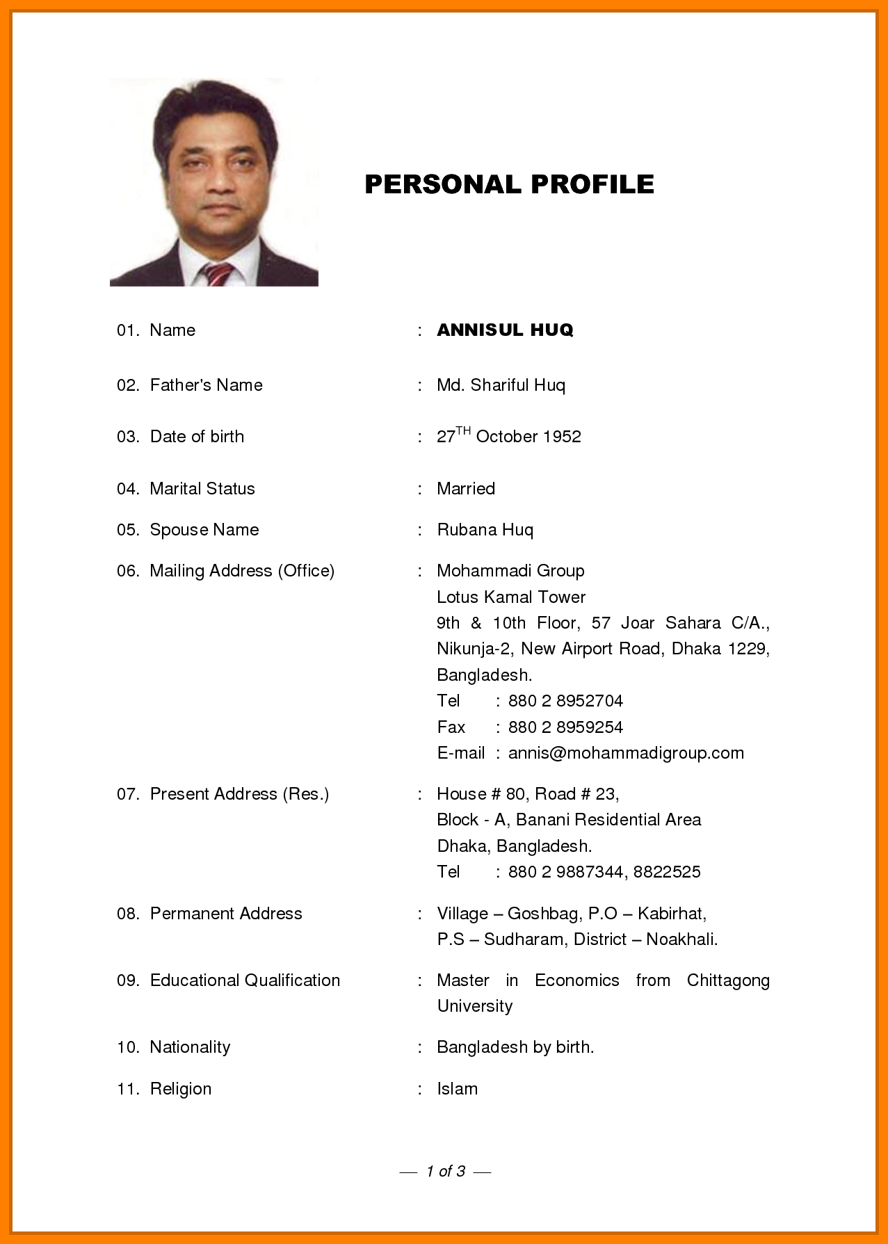 resume sample profile for marriage