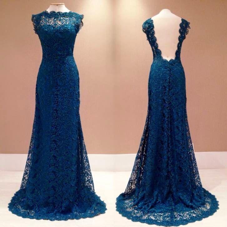 Vestido de renda guipir longo azul