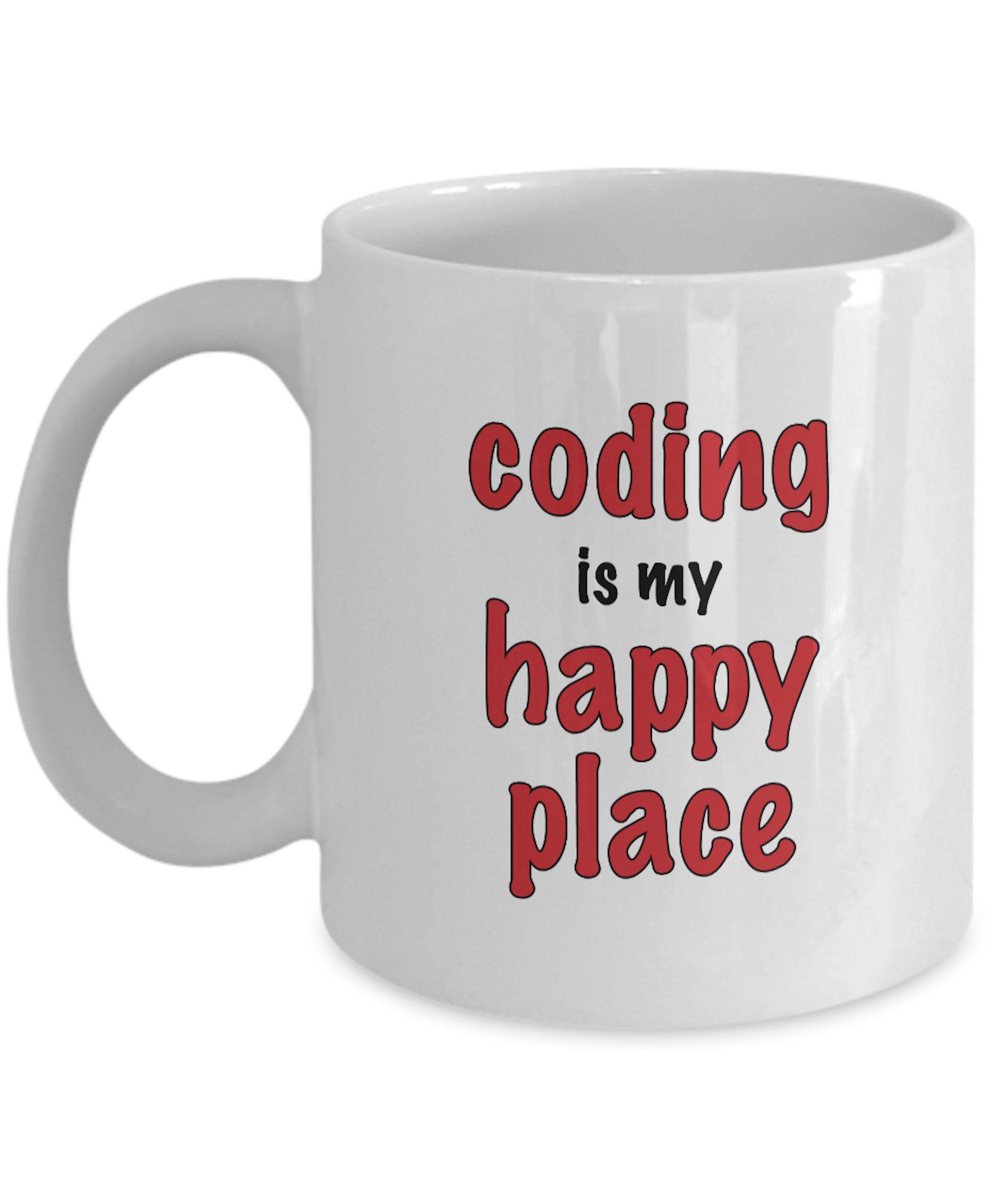 Computer geek gift coding is my happy place coffee mug