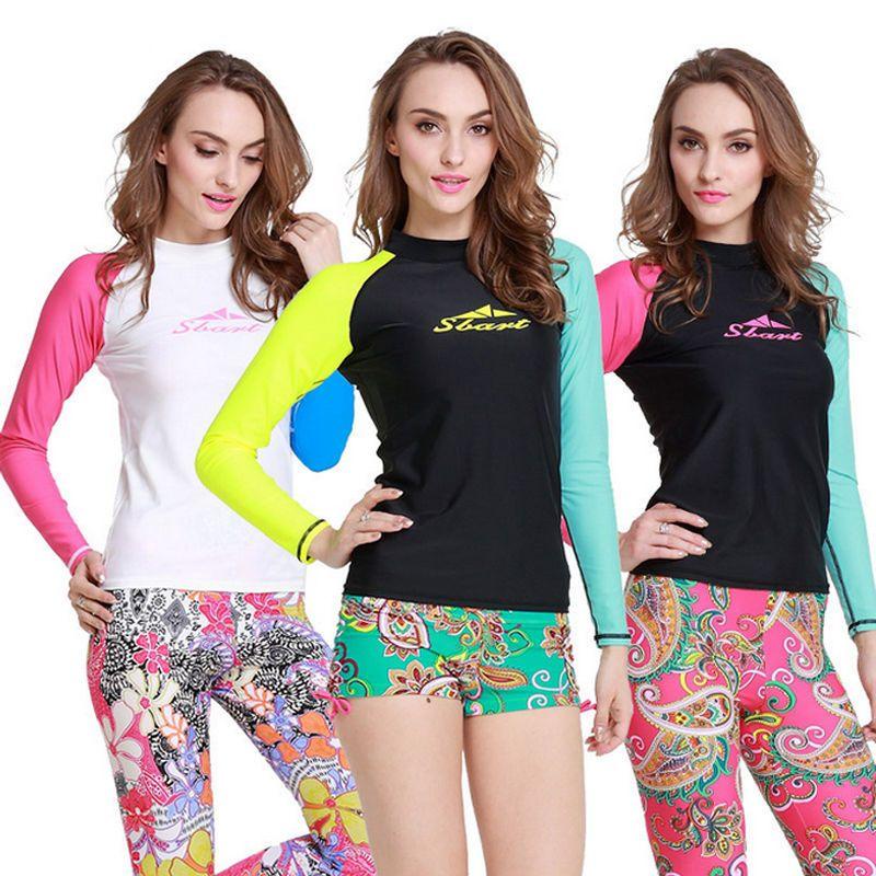 29c9eec02 Women's Long-sleeved UPF50+ UV Protection Wetsuit Surfing Swimwear Rash  Guards #Sbart #StretchyBodyconStyle  #YogaFitnessRashguardFloatsuitShirtundefined
