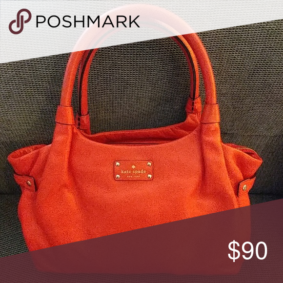 Handbag Red leather Kate Spade purse. No strap just handles, can ...