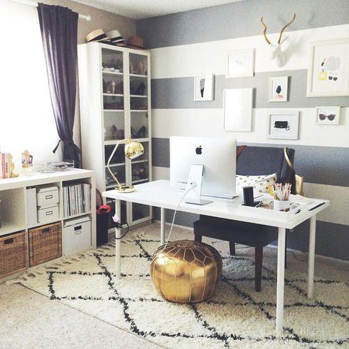 Office Config With Desk Facing Doors And IKEA KALLAX