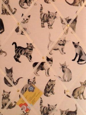 Medium Prestigious Cool Cats Hand Crafted Fabric Memory  Notice