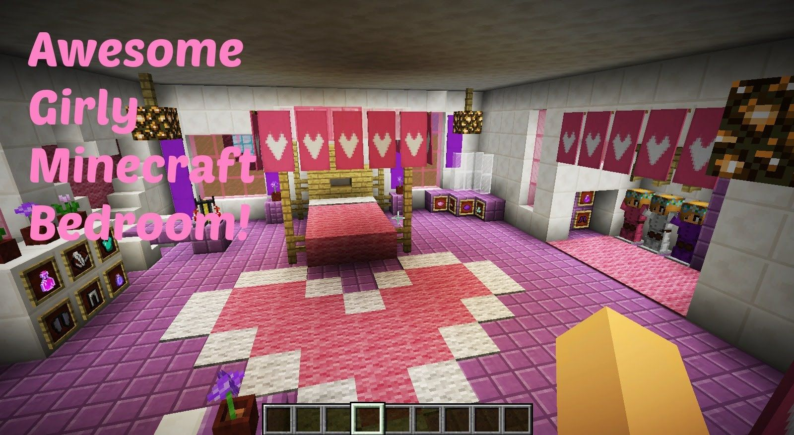 Awesome Girly Minecraft Bedroom Youtube Minecraft Bedroom Minecraft Room Minecraft Bedroom Girls