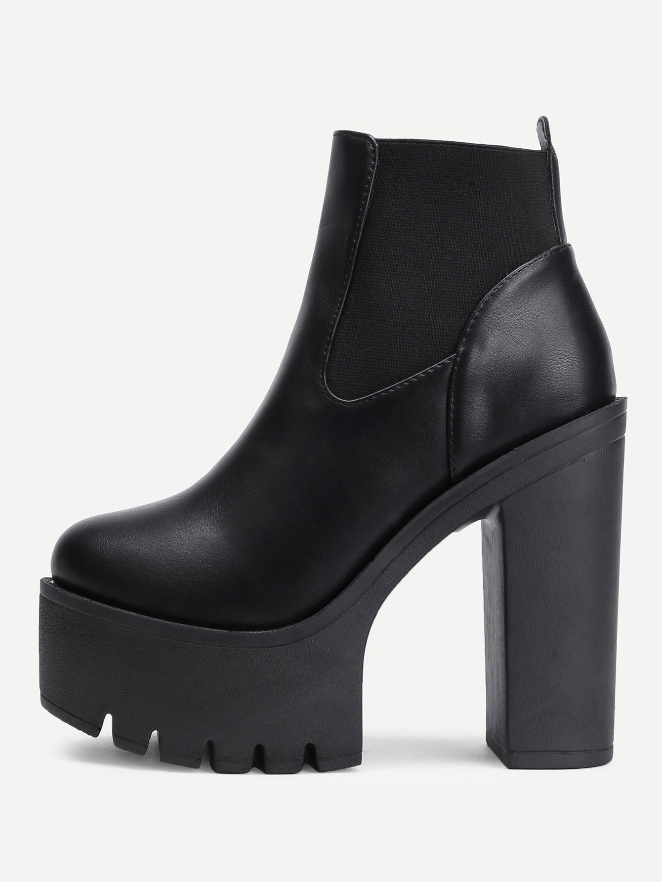 a0c10e686b22 Round Toe Platform PU Ankle Boots -SheIn(Sheinside)